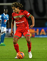 BOGOTA - COLOMBIA - 09 – 05 - 2017: Diego Chica, jugador de Cortulua, en acción, durante partido de la fecha 17 entre Millonarios y Cortulua, por la Liga Aguila I-2017, jugado en el estadio Nemesio Camacho El Campin de la ciudad de Bogota. / Diego Chica, player of Cortulua, in action during a match of the date 17th between Millonarios and Cortulua, for the Liga Aguila I-2017 played at the Nemesio Camacho El Campin Stadium in Bogota city, Photo: VizzorImage / Luis Ramirez / Staff.