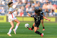 BRIDGEVIEW, IL - JULY 18: Danielle Colaprico #24 of the Chicago Red Stars kicks the ball during a game between OL Reign and Chicago Red Stars at SeatGeek Stadium on July 18, 2021 in Bridgeview, Illinois.