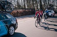 Jasper de Buyst (BEL/Lotto-Soudal) escorting Jens Debusschere (BEL/Lotto-Soudal) back into the pack<br /> <br /> 70th Kuurne-Brussel-Kuurne 2018<br /> Kuurne › Kuurne: 200km (BELGIUM)