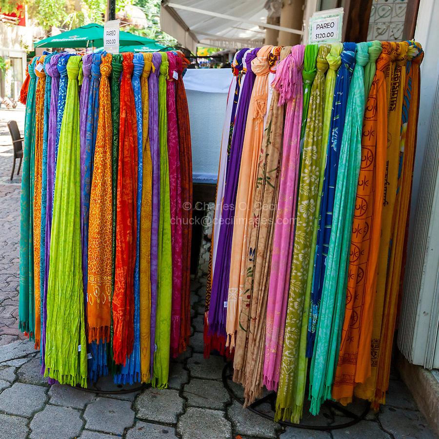 Scarves for Sale, Playa del Carmen, Riviera Maya, Yucatan, Mexico.