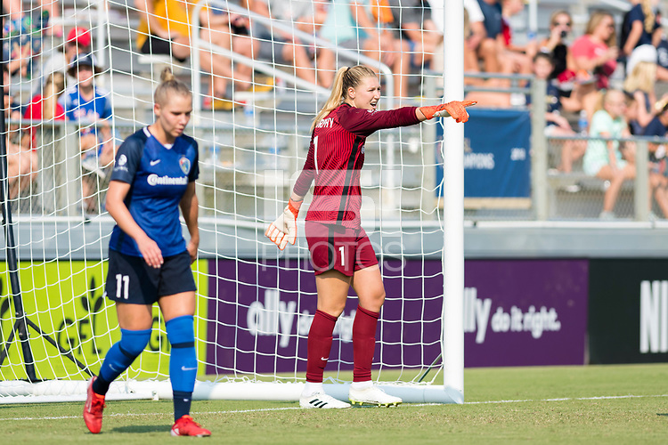 CARY, NC - SEPTEMBER 12: Casey Murphy #1 of the NC Courage gives instructions during a game between Portland Thorns FC and North Carolina Courage at WakeMed Soccer Park on September 12, 2021 in Cary, North Carolina.