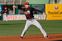 Lansing Lugnuts infielder Gunnar Heidt (2) throws to first between innings during a Midwest League game against the Wisconsin Timber Rattlers on April 29th, 2016 at Fox Cities Stadium in Appleton, Wisconsin.  Wisconsin defeated Lansing 2-0. (Brad Krause/Four Seam Images)
