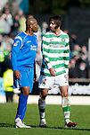 St Johnstone v Celtic..30.10.10  .Michael Duberry and Georgios Samaras square up.Picture by Graeme Hart..Copyright Perthshire Picture Agency.Tel: 01738 623350  Mobile: 07990 594431