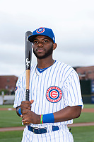 South Bend Cubs infielder Delvin Zinn (3) poses for a photo before a Midwest League game against the Cedar Rapids Kernels at Four Winds Field on May 7, 2019 in South Bend, Indiana. (Zachary Lucy/Four Seam Images)