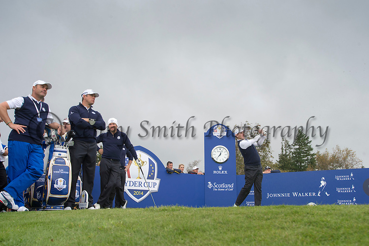 Scotsman Stephen Gallacher tees off at the 6th hole during a practice session at Gleneagles Golf Course, Perthshire. Photo credit should read: Kenny Smith/Press Association Images.