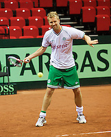 11-sept.-2013,Netherlands, Groningen,  Martini Plaza, Tennis, DavisCup Netherlands-Austria, FC Groningen Football player Lindgren<br /> Photo: Henk Koster