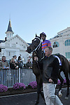1 November 2009: Thiskyhasnolimit with Shaun Bridgmohan in the paddock before the G3 one mile Iroquois Stakes for two year olds at Churchill Downs in Louisville, Kentucky.