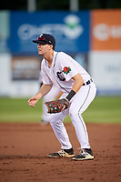 Connecticut Tigers first baseman Jordan Verdon (27) during a game against the Hudson Valley Renegades on August 20, 2018 at Dodd Stadium in Norwich, Connecticut.  Hudson Valley defeated Connecticut 3-1.  (Mike Janes/Four Seam Images)