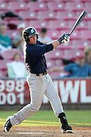 Eugene Emeralds outfielder Lee Orr #27 bats against the Salem-Keizer Valcanoes at Volcanoes Stadium on August 9, 2011 in Salem-Keizer,Oregon. Eugene defeated Salem-Keizer 13-7.(Larry Goren/Four Seam Images)