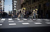 Steven Kruijswijk (NLD/LottoNL-Jumbo) & Rick Flens (NLD/LottoNL-Jumbo) cruising/speeding through the city of La Spezia in then local lap<br /> <br /> 2015 Giro<br /> st4: Chiavari - La Spezia (150km)