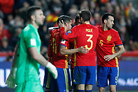 Spain's Sergio Ramos, Diego Costa, Vitolo, Sergio Busquets and Gerard Pique celebrate goal in presence of Israel's Ofir Marciano during FIFA World Cup 2018 Qualifying Round match. March 24,2017.(ALTERPHOTOS/Acero) /NortePhoto.com