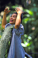 Prince Lot Hula Festival: a member of Halau Hula O Maiki dances under the trees at Moanalua Gardens