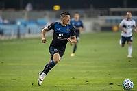 SAN JOSE, CA - OCTOBER 07: Cristian Espinoza #10 of the San Jose Earthquakes runs with the ball during a game between Vancouver Whitecaps and San Jose Earthquakes at Eathquakes Stadium on October 07, 2020 in San Jose, California.