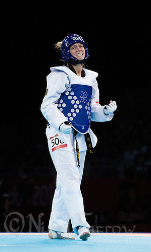 10 AUG 2012 - LONDON, GBR - Helena Fromm (GER) of Germany celebrates winning her women's -67kg category bronze medal B contest against Carmen Marton of Australia at the London 2012 Olympic Games Taekwondo at Excel in London, Great Britain .(PHOTO (C) 2012 NIGEL FARROW)