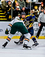 26 January 2019: Merrimack College Warrior Forward Tyler Drevitch, a Junior from Middleborough, MA, in first period action against the University of Vermont Catamounts at Gutterson Fieldhouse in Burlington, Vermont. The Warriors fell to the Catamounts 4-3 in overtime after tying up the game in the dyeing seconds of the third period of their America East conference game. Mandatory Credit: Ed Wolfstein Photo *** RAW (NEF) Image File Available ***