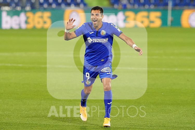 Getafe CF's Angel Rodriguez celebrates goal during La Liga match. September 29,2020. (ALTERPHOTOS/Acero)