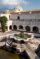 Antigua, Guatemala.  Courtyard and Fountain (Fuente de Pescados) of La Merced Church.  Fountain constructed 18th. century, restored 1944.