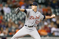 Detroit Tigers pitcher Drew Smyly (33) delivers a pitch to the plate during the MLB baseball game against the Houston Astros on May 3, 2013 at Minute Maid Park in Houston, Texas. Detroit defeated Houston 4-3. (Andrew Woolley/Four Seam Images).