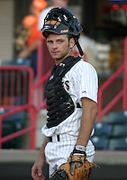 August 13, 2003:  Max St. Pierre of the Erie Seawolves, Class-AA affiliate of the Detroit Tigers, during a Eastern League game at Jerry Uht Park in Erie, PA.  Photo by:  Mike Janes/Four Seam Images