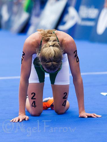 03 JUL 2010 - ATHLONE, IRL - Aileen Morrison (IRL) recovers after finishing at the European Elite Womens Triathlon Championships .(PHOTO (C) NIGEL FARROW)