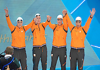 July 28, 2012: Left to Right Marleen Veldhuis, Inge Dekker, Femke Heemskerk and Ranomi Kromowidjojo of the Netherlands arrive to compete in Women's 4x100m Freestyle Relay at the Aquatics Center on day one of 2012 Olympic Games in London, United Kingdom.