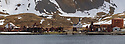 Grytviken was the largest whaling station on South Georgia. It was made made famous by Shackleton's reunion with civilization on South Georgia after losing his ship, the Endurance, to Antarctic pack ice in 1915. Digitally stitched panoramic image. Grytviken, South Georgia. November.