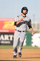 Yale Rosen (28) of the Lake Elsinore Storm runs the bases during a game against the Lancaster JetHawks at The Hanger on May 9, 2015 in Lancaster, California. Lancaster defeated Lake Elsinore, 3-1. (Larry Goren/Four Seam Images)