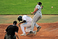 2 July 2011: Vermont Lake Monsters outfielder Aaron Shipman slides home safely during action against the Tri-City ValleyCats at Centennial Field in Burlington, Vermont. The Lake Monsters rallied from a 4-2 deficit to defeat the ValletCats 7-4 in NY Penn League action. Mandatory Credit: Ed Wolfstein Photo