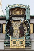 Jugendstil-Ankeruhr von Franz Matsch, Hoher Markt,Wien, Österreich, UNESCO-Weltkulturerbe<br /> Art Nouveau Anchor Clock by Franz Matsch, Hoher Markt, Vienna, Austria, world heritage