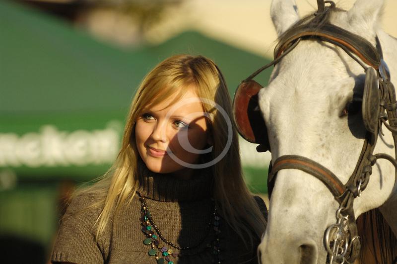 Poland, Krakow, Woman with horse, Rynek Glowny, Grand Square,