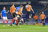Sean Raggett of Portsmouth (20) heads the first goal during Portsmouth vs Oxford United, Sky Bet EFL League 1 Football at Fratton Park on 24th November 2020