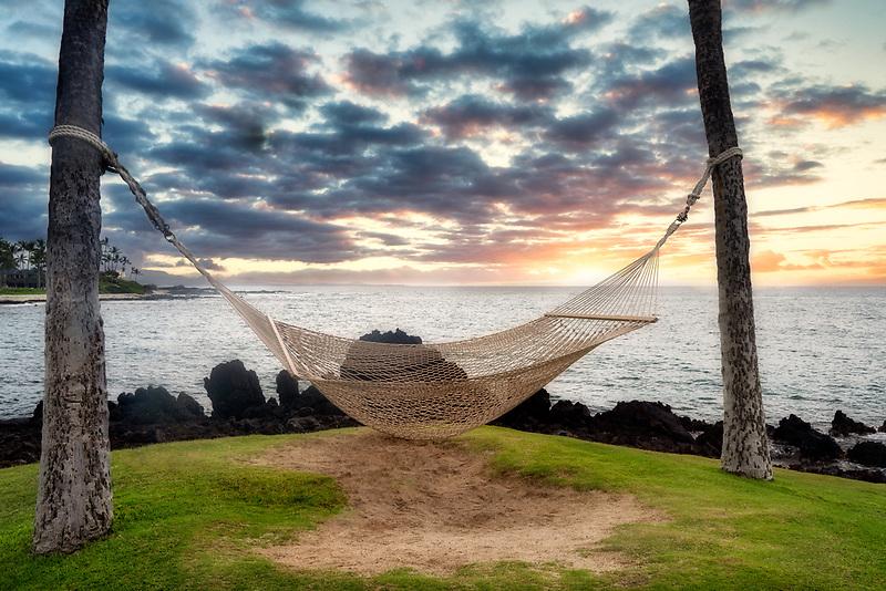 Hammock overlooking Kohala Coast. Hawaii, the big island.