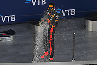 27th September 2020, Sochi, Russia; FIA Formula One Grand Prix of Russia, Race Day;  33 Max Verstappen NLD, Aston Martin Red Bull Racing celebrates his 2nd placed finish