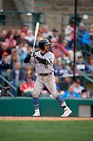 Charlotte Knights Danny Mendick (17) bats during an International League game against the Rochester Red Wings on June 16, 2019 at Frontier Field in Rochester, New York.  Rochester defeated Charlotte 3-2 in the second game of a doubleheader.  (Mike Janes/Four Seam Images)