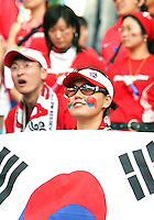 Korea Republic fans. The Korea Republic and France played to a 1-1 tie in their FIFA World Cup Group G match at the Zentralstadion, Leipzig, Germany, June 18, 2006.