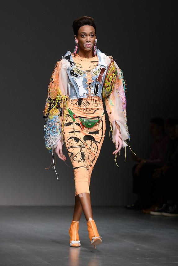 Winnie Harlow<br /> front row at the Matty Bovan London Fashion Week SS18 catwalk show, London<br /> <br /> ©Ash Knotek  D3431  14/09/2018