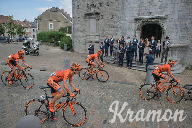 The race passes a wedding party cheering the riders on out of the local church<br /> <br /> Brussels Cycling Classic 2016