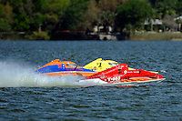 """Y-563 """"Lobster Boat"""", Sean Bowsher Y-52 and Dan Kanfoush, Y-1 """"Fast Eddie Too"""" speed into turn 1.  (1 Litre MOD hydroplane(s)"""