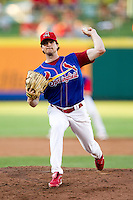 John Gast (16) of the Springfield Cardinals delivers a pitch during a game against the Corpus Christi Hooks at Hammons Field on August 13, 2011 in Springfield, Missouri. Springfield defeated Corpus Christi 8-7.  (David Welker / Four Seam Images)