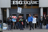 Montreal, CANADA - File - UQAM employees  and  SCFP Union members  one day strike against the  austerity measures proposed  by the Quebec Liberal Goverment, Oct 9, 2014.