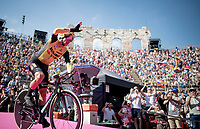 Primoz Roglic (SVK/Jumbo-Visma) entering the Verona amphitheater after finishing the closing iTT<br /> <br /> Stage 21 (ITT): Verona to Verona (17km)<br /> 102nd Giro d'Italia 2019<br /> <br /> ©kramon