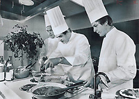 Chef Paul Bocuse<br /> ; centre; swiftly works his culinary magie in The Star test kitcher day; as Chef Marcel Didier; of the Royal Y and Chef Francis Vandenhenne stand by to aid and abet. Bocuse poached trout and eggs in a wine sauce