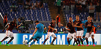 Calcio, Champions League, Gruppo E: Roma vs Barcellona. Roma, stadio Olimpico, 16 settembre 2015.<br /> FC Barcelona's Lionel Messi, left, kicks a free kick during a Champions League, Group E football match between Roma and FC Barcelona, at Rome's Olympic stadium, 16 September 2015.<br /> UPDATE IMAGES PRESS/Riccardo De Luca