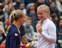 Paris, France, 01 June, 2016, Tennis, Roland Garros, Womans Doubles: Kiki Bertens (NED) with her partner Johanna Larsson (SWE) (L)<br /> Photo: Henk Koster/tennisimages.com