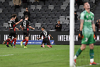 26th May 2021; Bankwest Stadium, Parramatta, New South Wales, Australia; A League Football, Western Sydney Wanderers versus Wellington Phoenix; Keanu Baccus of Western Sydney Wanderers turns to celebrate his goal in the 28th minute to make it 1-1 as goalkeeper Oliver Sail of Wellington Phoenix retrieves the ball from the net