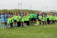 Piscataway, NJ - Sunday April 30, 2017: Sky Blue FC and FC Kansas City starting lineups during a regular season National Women's Soccer League (NWSL) match between Sky Blue FC and FC Kansas City at Yurcak Field.