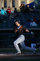 Drew Jackson (7) of the Bakersfield Blaze bats against the Lancaster JetHawks at The Hanger on April 28, 2016 in Lancaster, California. Lancaster defeated Bakersfield, 5-4. (Larry Goren/Four Seam Images)