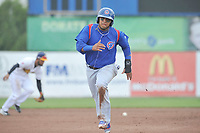 South Bend Cubs shortstop Isaac Paredes (16) runs to third base during a game against the Burlington Bees at Community Field on May 10, 2017 in Burlington, Iowa.  The Bees won 4-3 in 10 innings.  (Dennis Hubbard/Four Seam Images)