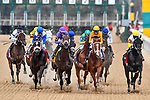 HOT SPRINGS, AR - MARCH 17: From right to left,#1 Title Ready with jockey Jose Ortiz, #2 Curlin's Honor with jockey Florent Geroux, #4 Magnum Moon with jockey Luis Saez .Rebel Stakes at Oaklawn Park on March 17, 2018 in Hot Springs, Arkansas. (Photo by Ted McClenning/Eclipse Sportswire/Getty Images)