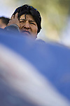 ©PATRICIO CROOKER<br /> Chuquisaca, Bolivia<br /> A picture dated August 5, 2007 shows Bolivian President Evo Morales attending a ceremony in the city of Sucre.